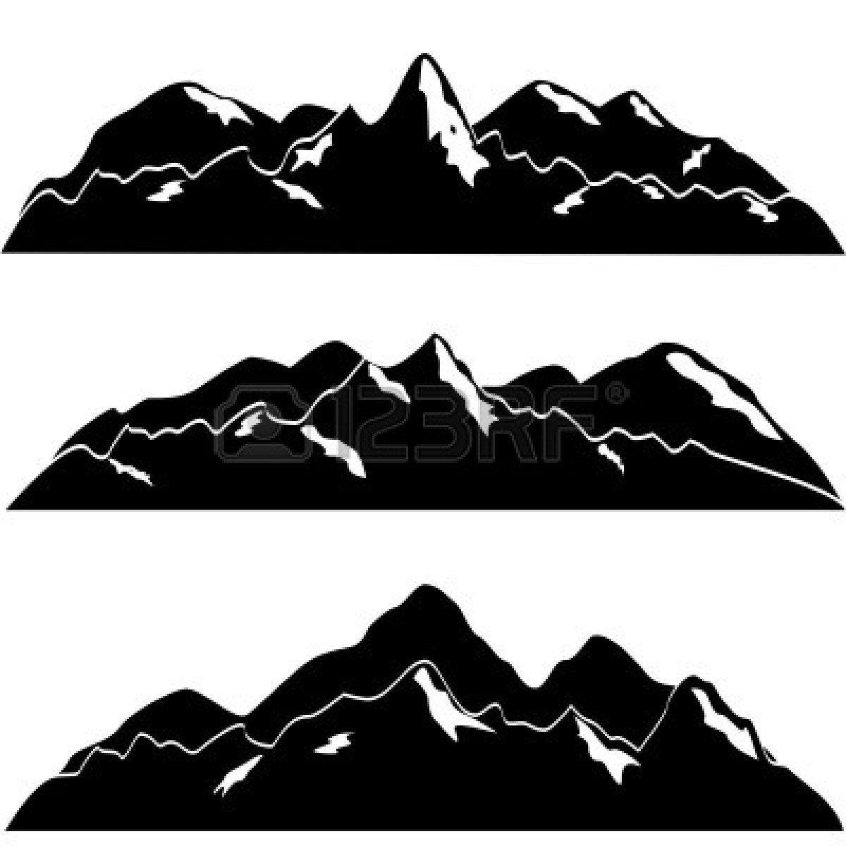 Mountain black and white outline clipart panda free Mountain silhouette