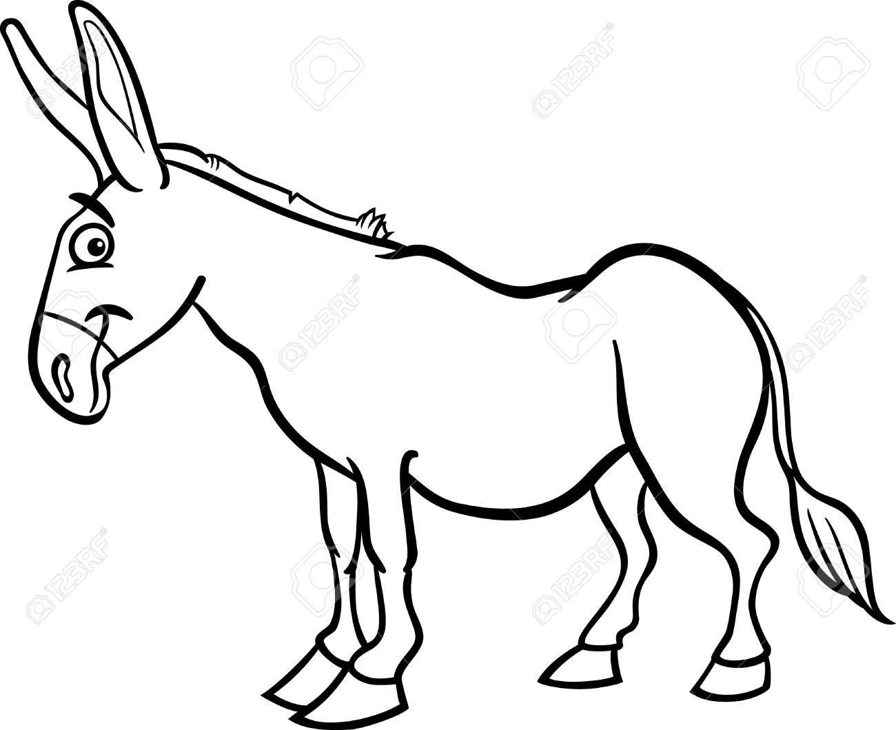 Line Drawing Donkey : Mule black and white clipart panda free