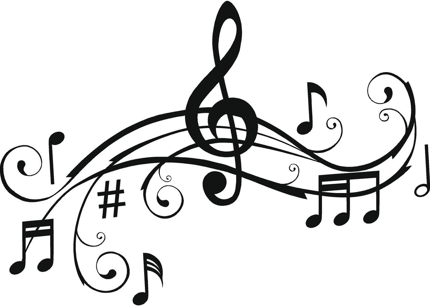 Pics Photos Music Notes Clip Art Black And White