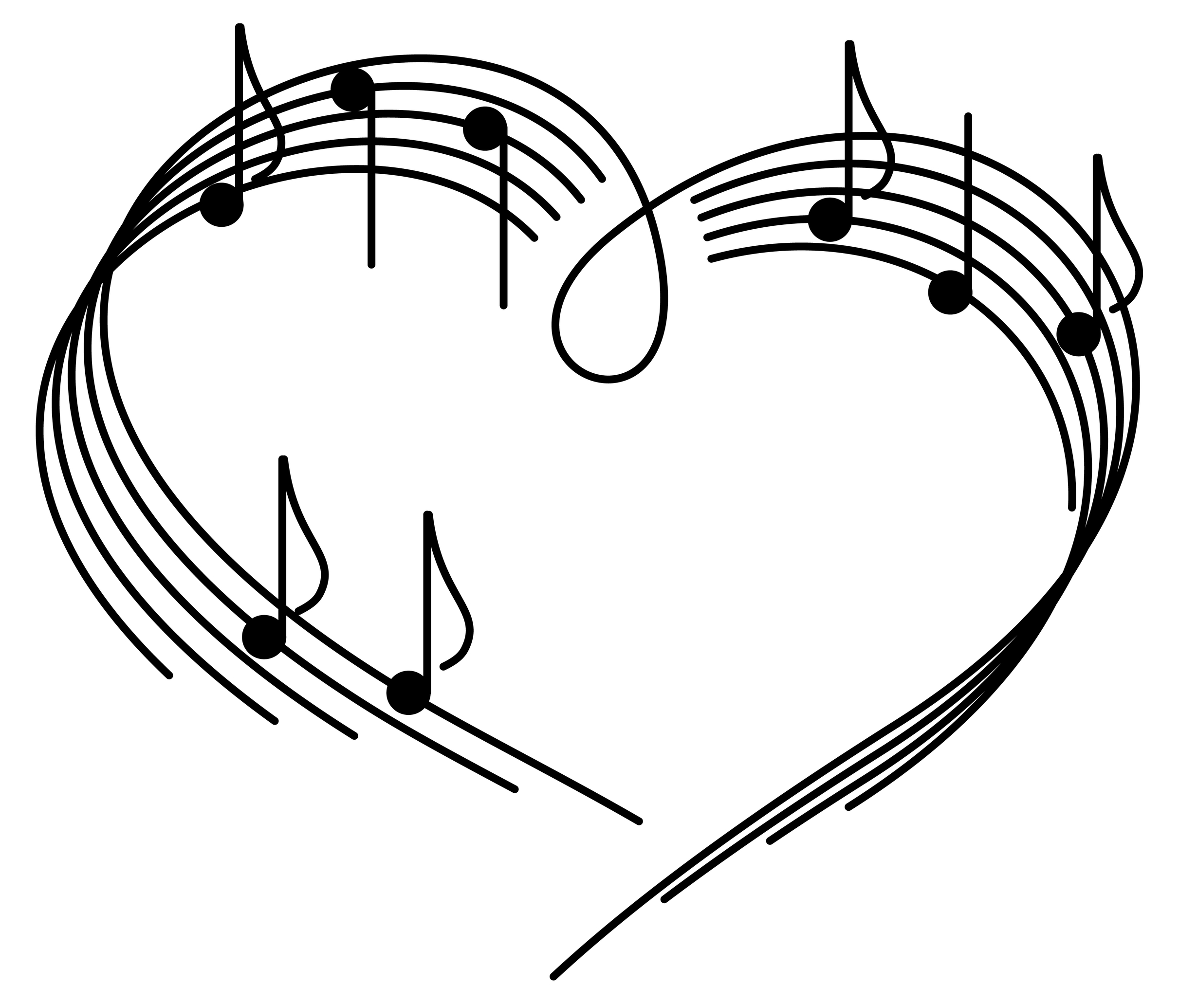 heart music notes clip art