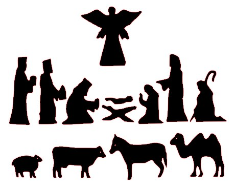 Simple Manger Scene Silhouette Nativity scene clip art
