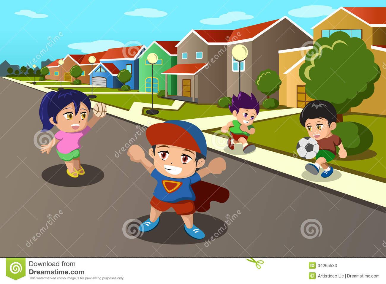 Kids Playing School Yard
