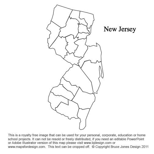New Jersey US State County Map Clipart Panda Free Clipart Images - County maps of new jersey