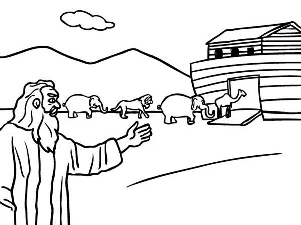 noah ark building the ark animals coloring page coloring pages