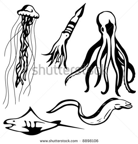 Ocean Animals Clip Art Black And White | Clipart Panda ...