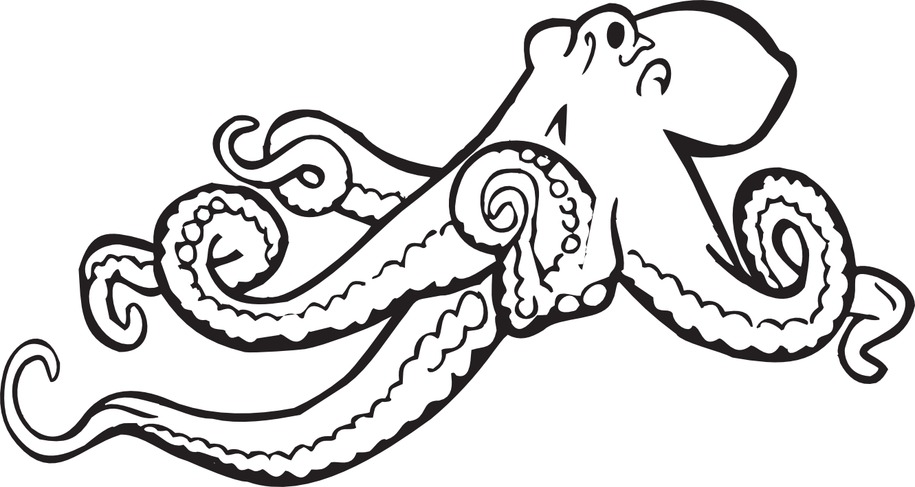 Octopus Clipart Black And White