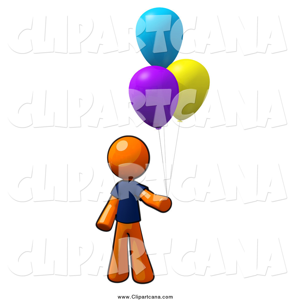 Clipart Panda Orange Balloon