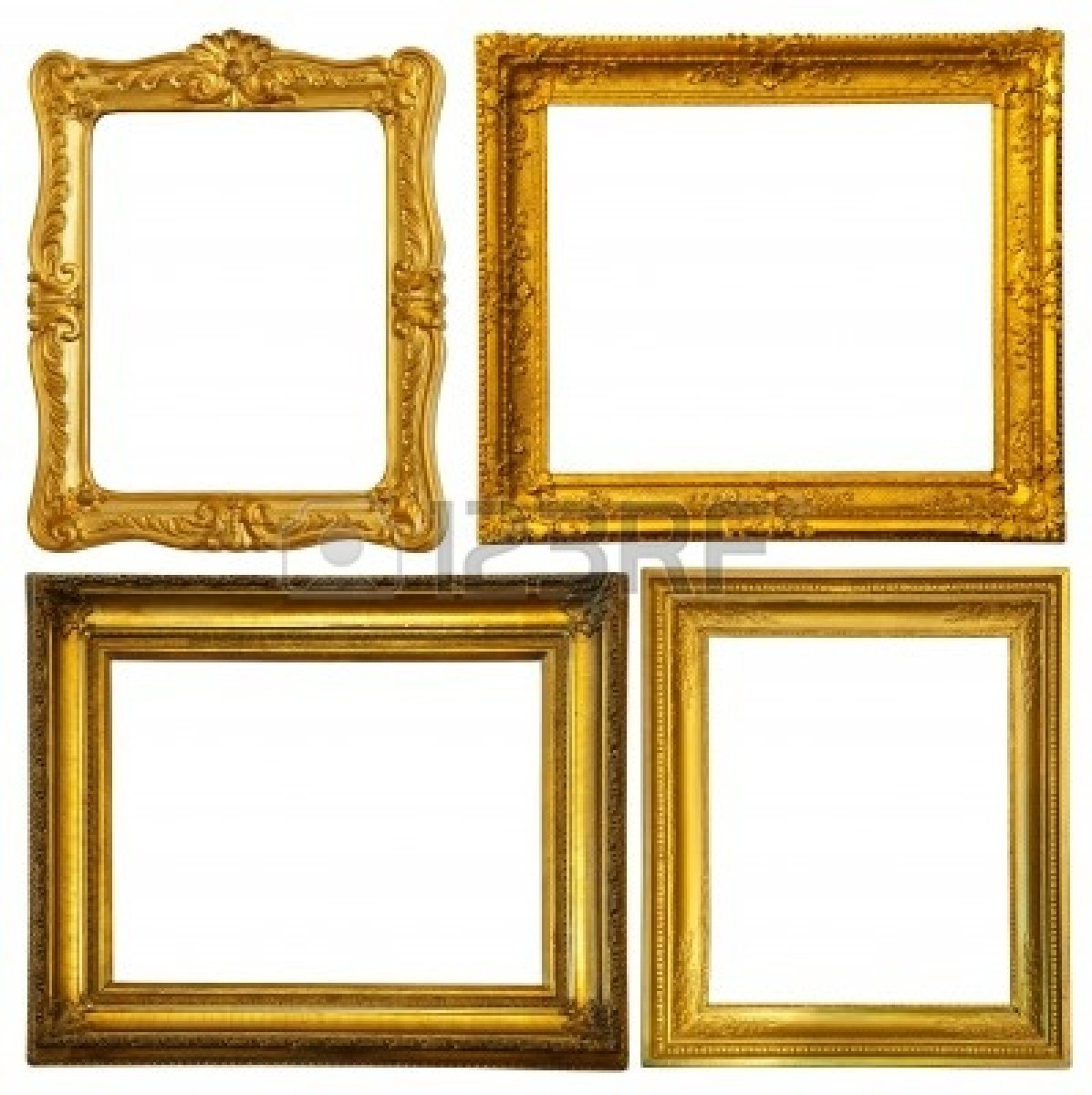 ornate gold frame 9059975 set of few gold frame isolated over white