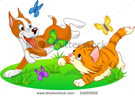 Dog Chasing Cat Clip Art outdoors 20clipart