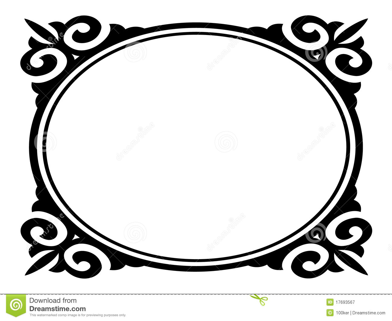 Frame Design Line Art : Oval picture frame vector clipart panda free