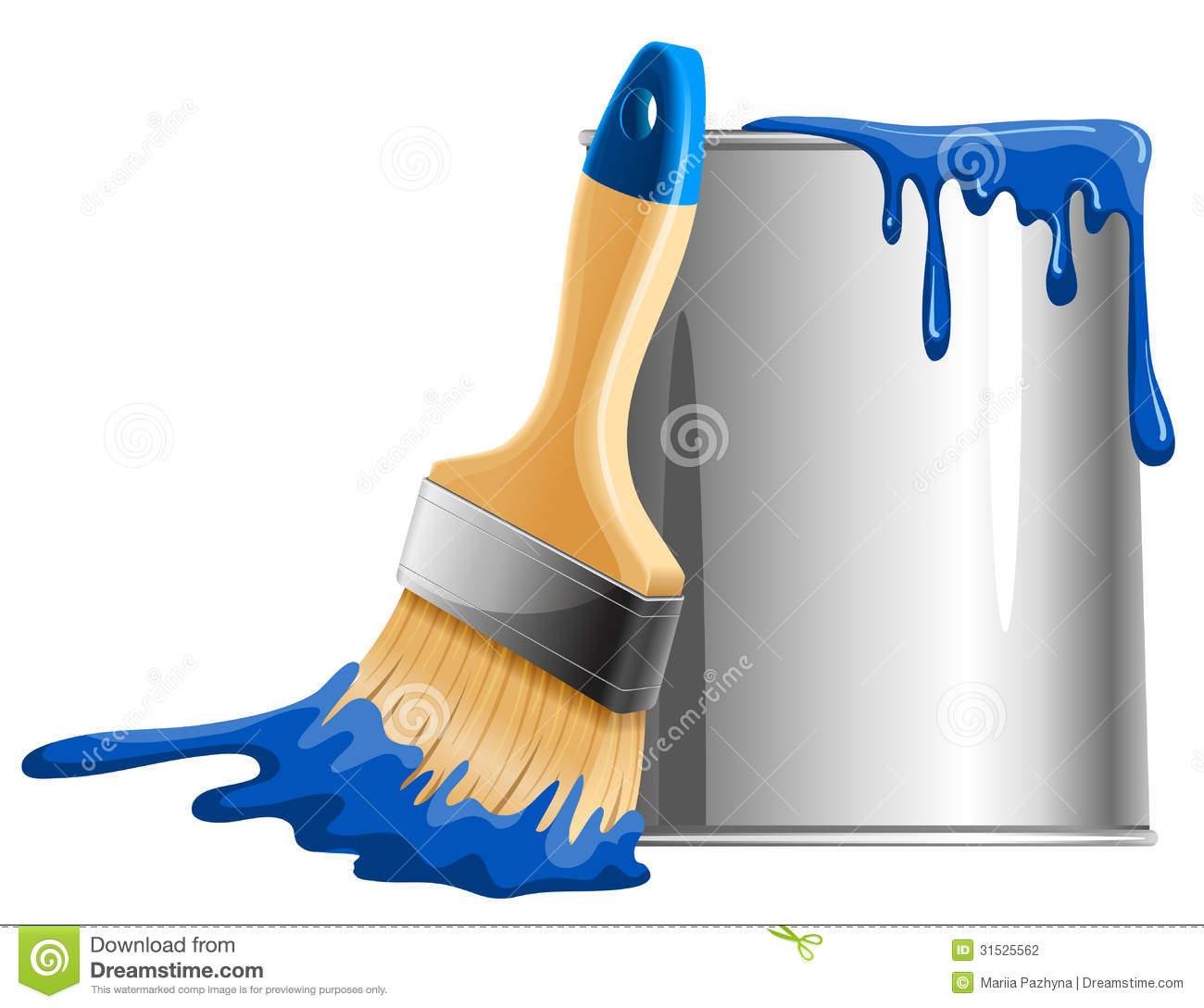 paintbucketvectorbucketpaintbrushbluevectorillustration