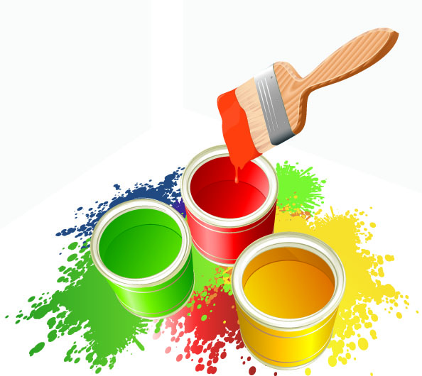 Asian Paint Bucket And Brush