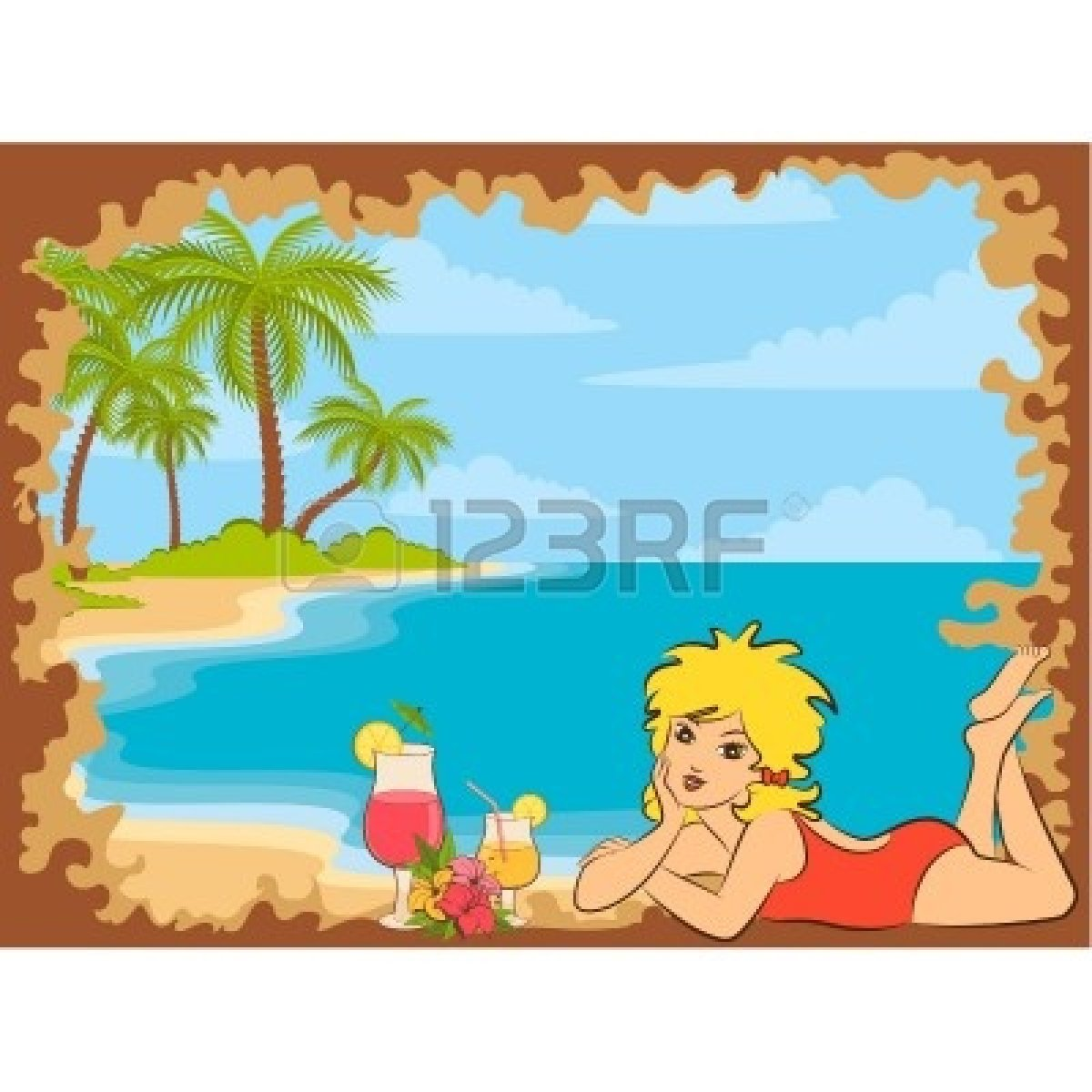 palm-tree-beach-sunset-10545146-beautiful-small-girl-on-the-beach-with ...