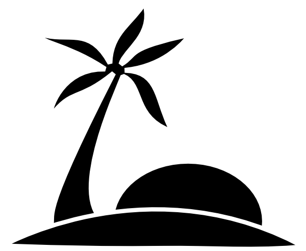 Palm Tree Beach W Sun Clip Art