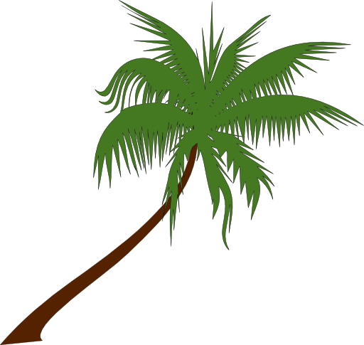 Jungle Leaf Outline Clipart Palm tree clip art