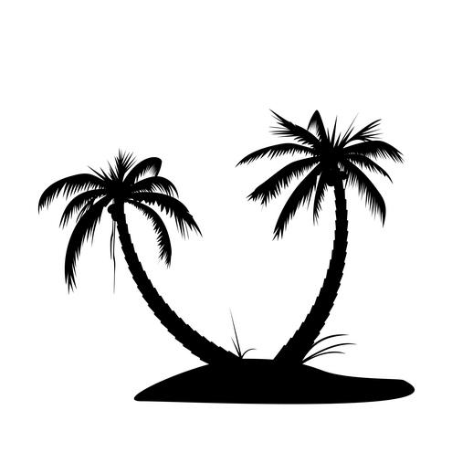 Palm Tree Island Clip Art Black And White