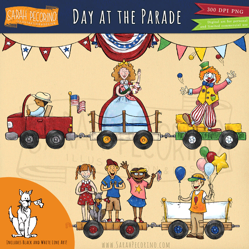 Parade Float Clip Art: Day At The Parade Clip Art Set