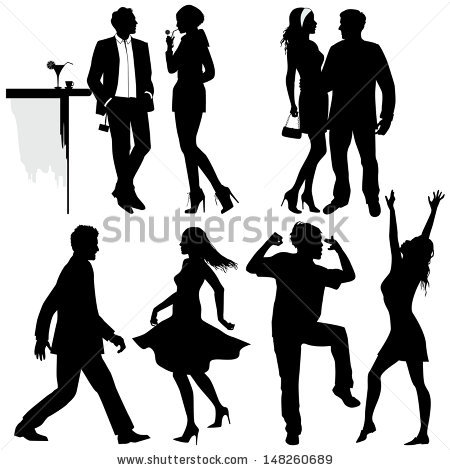 Party People Silhouette Clipart Panda Free Clipart Images