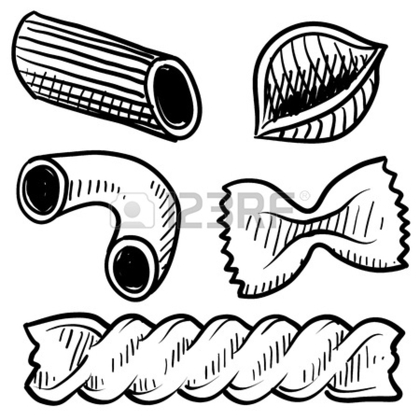 Pasta black and white clipart the image for Italian food coloring pages