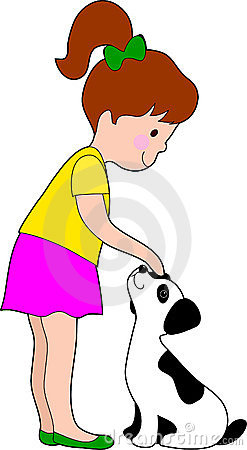 Pictures Of A Girl Petting A Dog Cartoon
