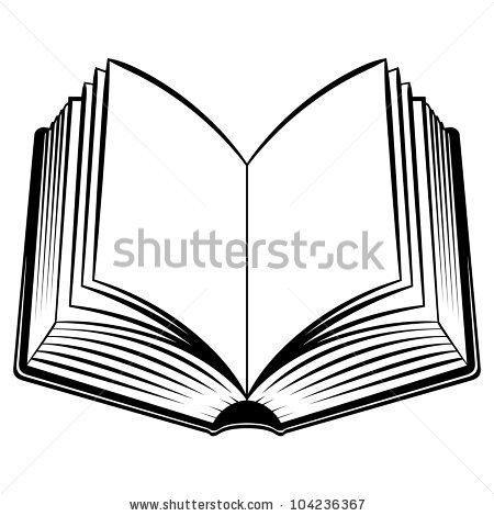 black-and-white-horizontal-stock-photo-raster-version-open-book-black ...