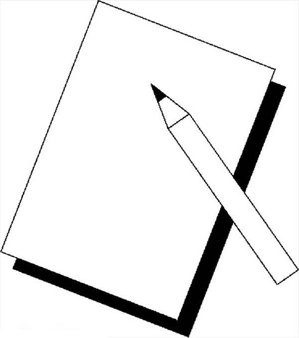 Pencil Coloring Pages A Simple Lineart Of Pencil And A Paper Coloring Pages