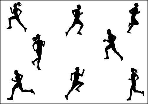People Running Marathon Clipart