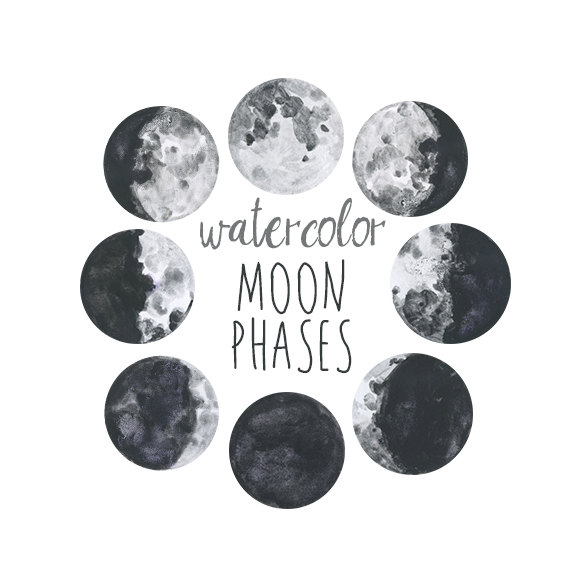 Moon phases in hand-drawn style vector | free download.