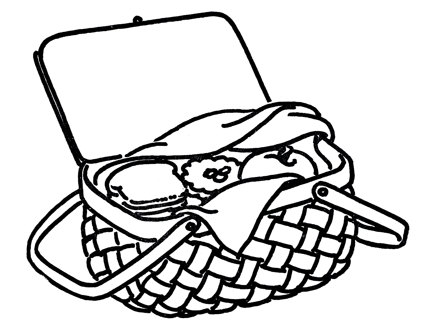 Basket Clip Art Black And White : Picnic basket clip art black and white clipart panda