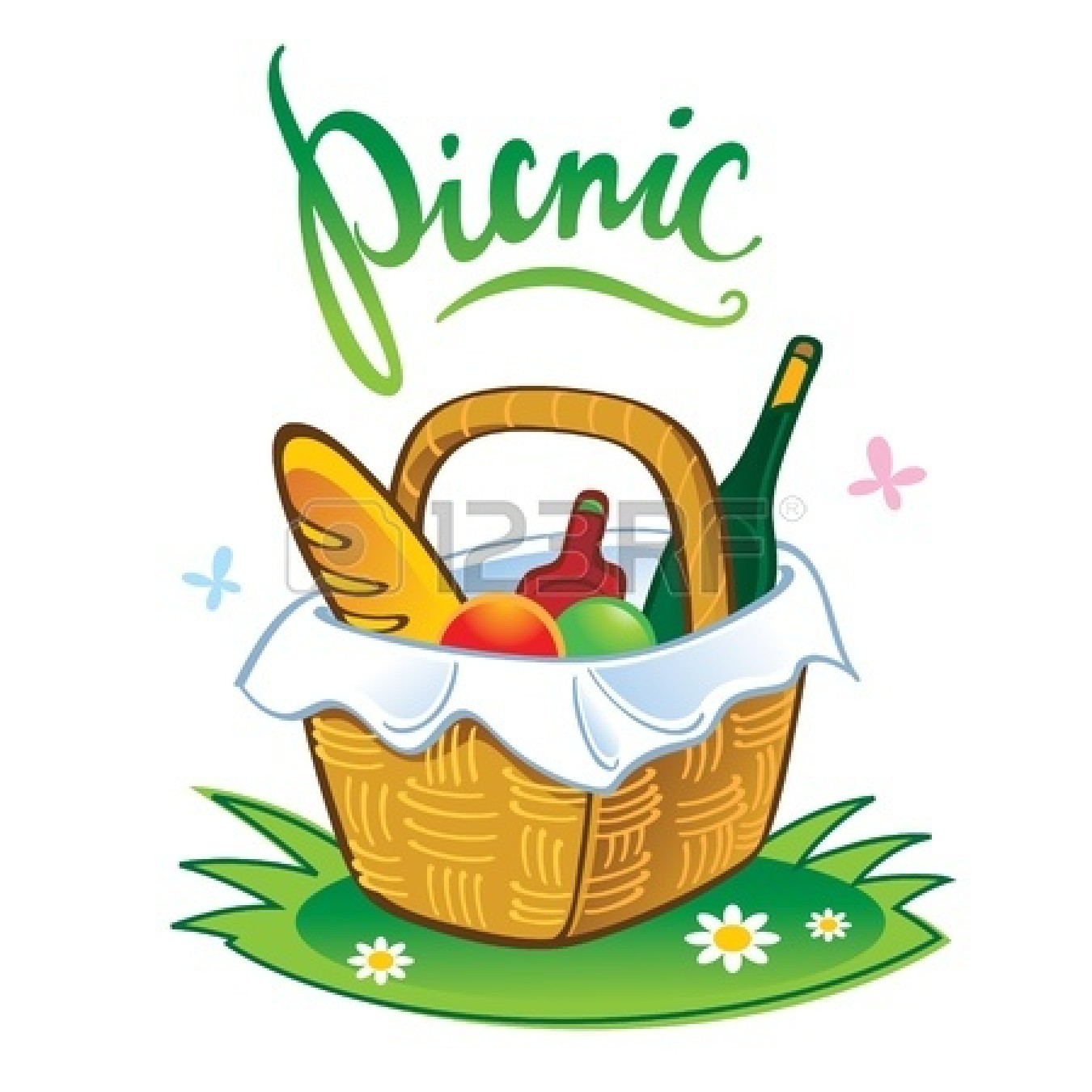 picnic food clip art black and white