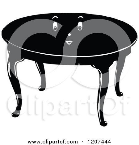 Kitchen table clip art black and white
