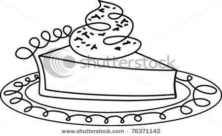 pie clipart black and white stock vector retro slice of pie on a plate ...