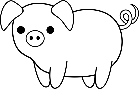 Line Drawing Of A Pig Face : Pig clip art black and white clipart panda free