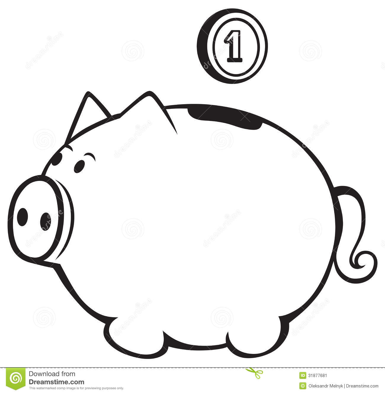 Piggy bank clip art black and white clipart panda free clipart images for Piggy bank templates