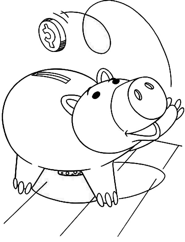 Piggy Bank Coloring Page Clipart
