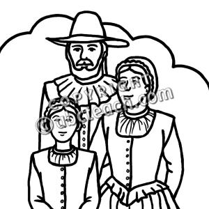 Pilgrim family clip art inPilgrimage Clipart