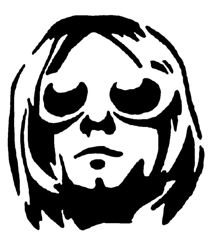 Kurt cobain stencil template clipart panda free