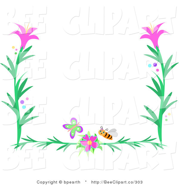 Pink flower border clip art vector clip art of a butterfly bee and