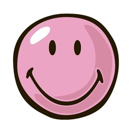 Smiley face pink. Round rug by clipart