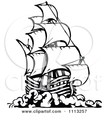 Pirate ship clip art black and white - photo#4