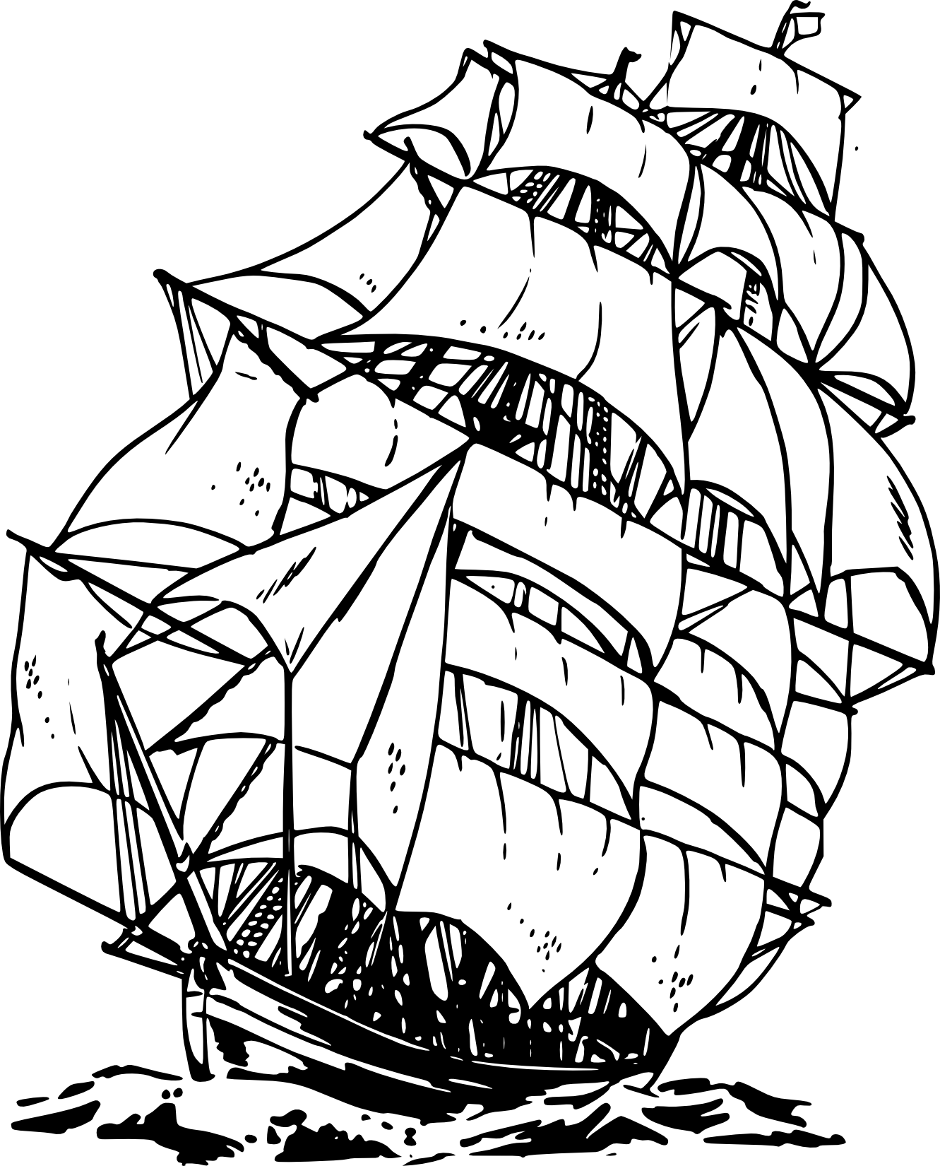 Line Art Boat : Pirate ship clipart black and white panda free