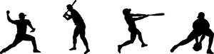Softball silhouette fielding