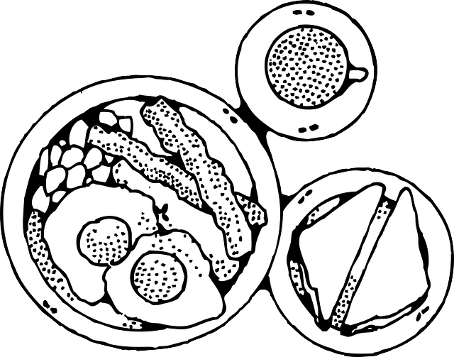 Plate Of Food Clipart Black And White | Clipart Panda ...