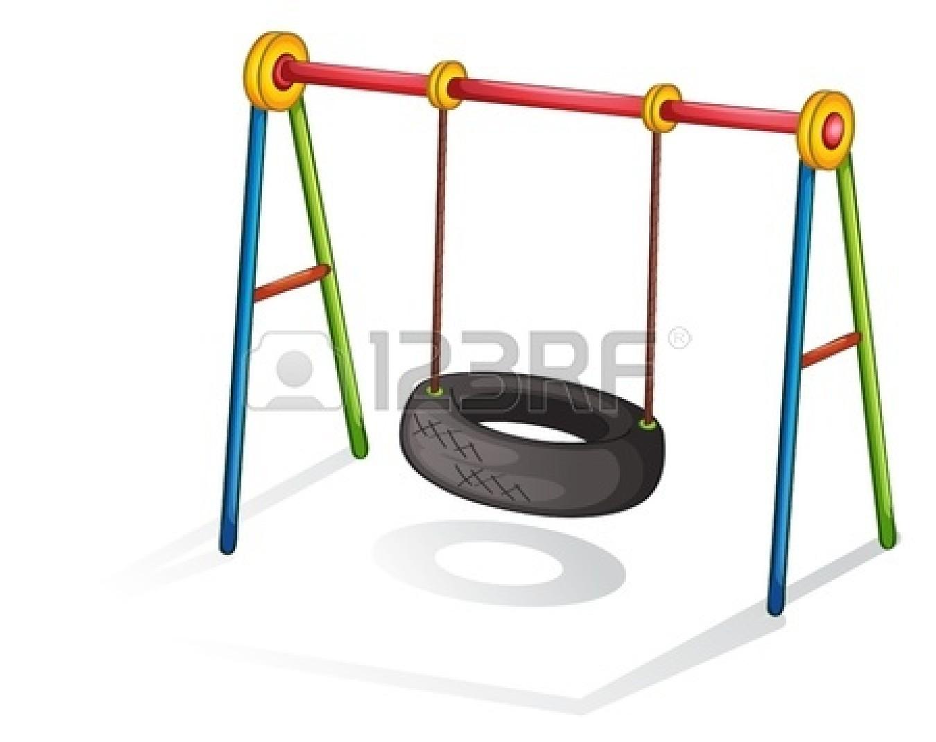 Cartoon Tire Swing. Playground Equipment Clipart Panda ...