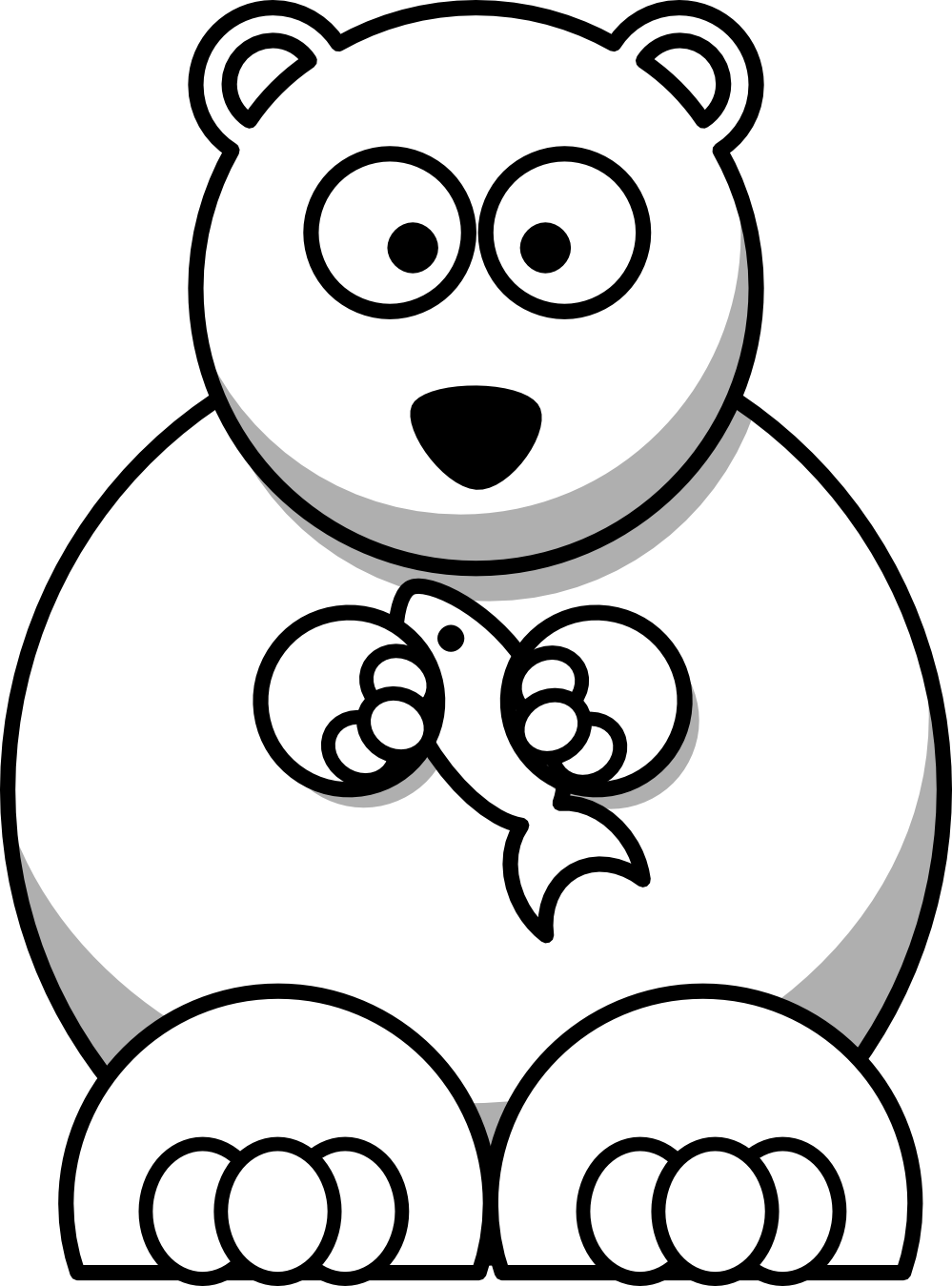 Line Drawings Of Cartoon Animals : Polar bear clip art black and white clipart panda free