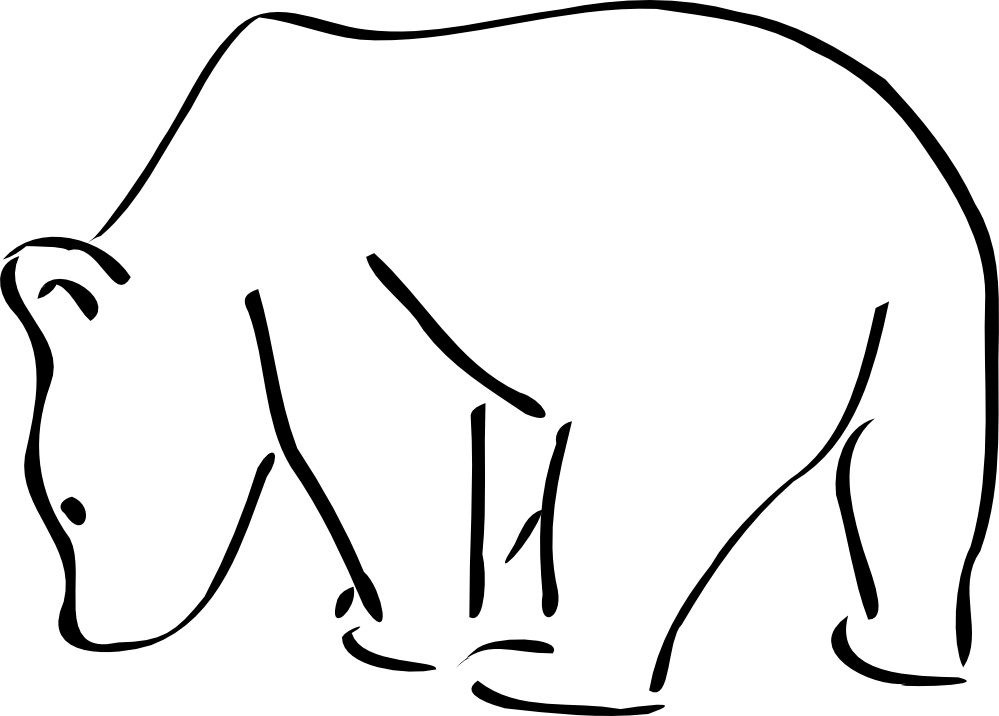 Black Line Drawings Of Animals : Polar bear clipart black and white panda free