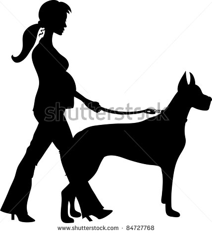 Woman Walking Her Dog Clipart