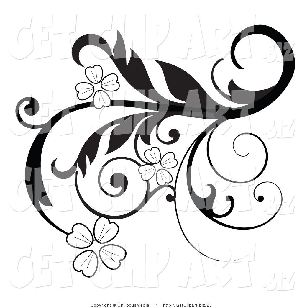 Clip Art Design : Flowers clipart black and white panda free