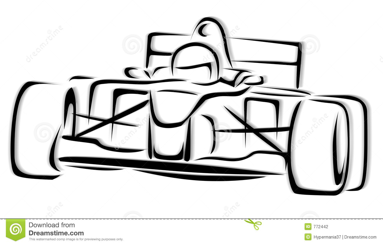 Race Car Clipart Black And White on nascar car illustration