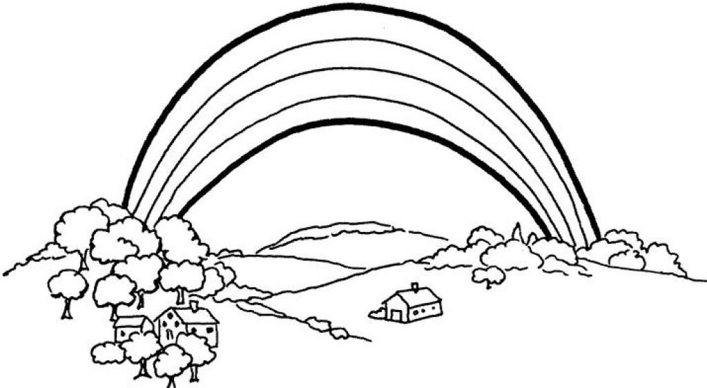 Rainbow Coloring Page With Color